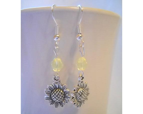 Sunflower Dangle Earrings with Czech Bicone, in Silver