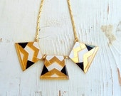 Anat - Geometrical necklace, hand painted Black  and white, with enamel coating.