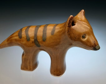 Thylacine animal sculpture; Tasmanian Tiger; ceramics; unusual gift idea; ancient animals; pottery animals; clay sculpture