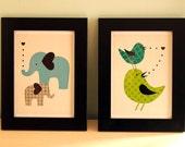 Elephants with big hearts- 5x7 framed nursery decor