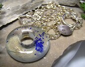 Circle of Solace - Wire Wrapped Fused Glass Modern Art Pendant Necklace - 107 Designs - Swansea - Chicago