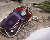 Sweet Mallory - Wire Wrapped Fused Glass Large Modern Art Pendant Necklace - 107 Designs - Swansea - Chicago