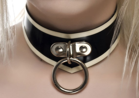 "V Shaped Latex Rubber Collar with O-Ring trimmed in White 12.5"" - 14.5"" (--CLEARANCE Stock Item--)"