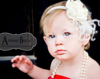 You Choose Color. Gorgeous White, Red, Cream, Yellow, or Pink Lux Handmade Silky Fabric Flower Headband With Ostrich Feathers and Crystals
