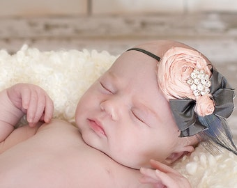 Vintage Baby Pink Dupioni Silk Hand Rolled Rosette Headband with Grey Silk Bow and Peacock Feather with crystal