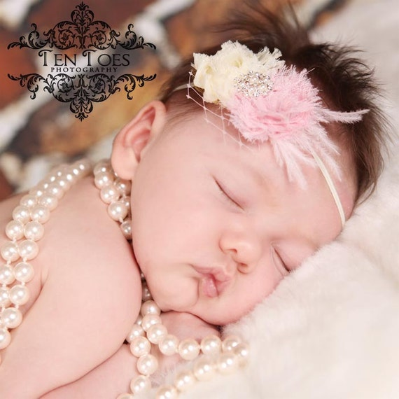 Newborn Perfect. Mini Shabby Chic Style Double Pink & Cream Chiffon Rose Flower Headband with Pearl and Crystal detail