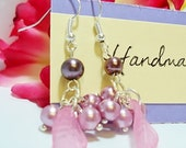 Free Shipping: Purple Pearl and Pink Leaf Dangle Earrings