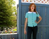 Charming Peter Pan Collar Button Front Blouse in Robins Egg Blue