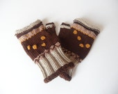 Brown Beige Yellow fingerless gloves arm warmers mittens
