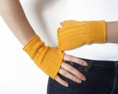 Yellow fingerless gloves arm warmers mittens-mother's Day-knit fingerless
