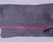 RESERVED FOR STEPHANIE-Navy Blue Striped Fold-Over Clutch with Pink Zipper Closure and Green Lining