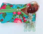 Teal Floral Patterned Makeup/Jewelry Pouch with Bright Yellow Lining