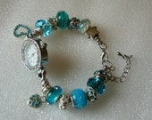 Turquoise Beads With Clear Rhinestones On Watch Bracelet