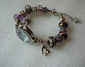 Purple and Silver Rhinestones Watch Bracelet