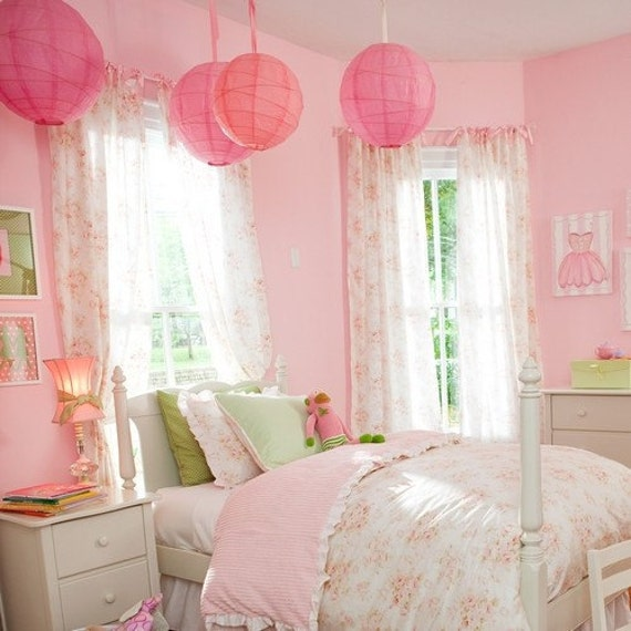 12 paper lanterns baby pink with ribbons wedding party. Black Bedroom Furniture Sets. Home Design Ideas