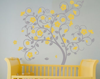 Swirly Tree Vinyl Wall Sticker Life Size. Beautiful bespoke Tree Decal | 145 x 190cm / 57 x 75 inches