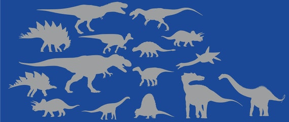 Collection of 15 dinosaur decals