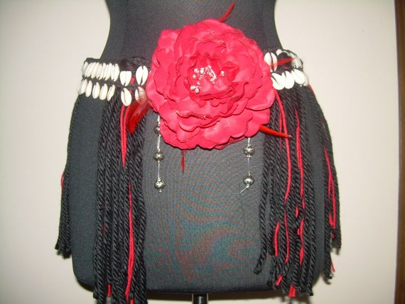 OOAK Red and Black Cowrie Shell Flower yarn Tribal Belly Dance Belt