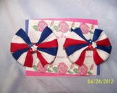 Red, White, and Blue Ribbon Hair Clippie Barrettes