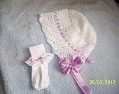 Victorian Style Crochet Lace Baby Bonnet with Matching Socks Set, Size 6 to 12 Months