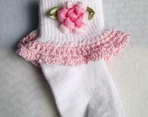 Crochet Lace Trim & Floral Embellished Baby Girl Socks