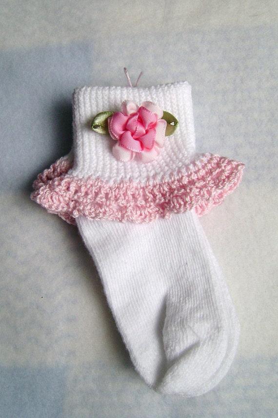 Crochet Lace Trim & Floral Embellished Baby Girl Socks