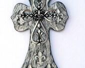 Faux finish Cross with engraved Fleur De Lis's