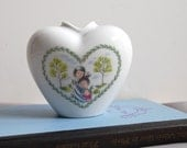 "Lovely Mid Century Peynet Rosenthal ""Lovers"" Heart Vase"