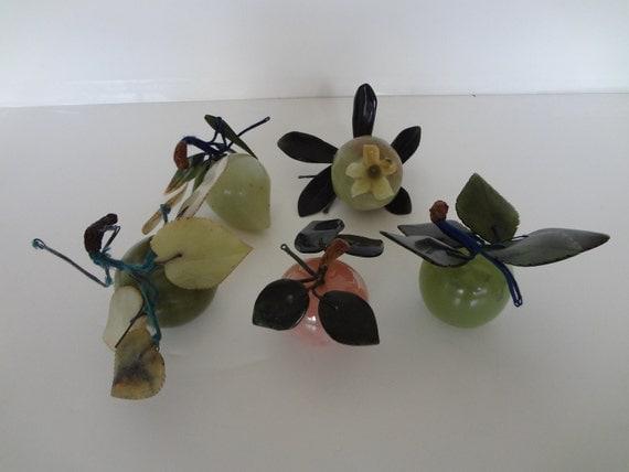 Set of 5 Chinese antique hard stone fruit