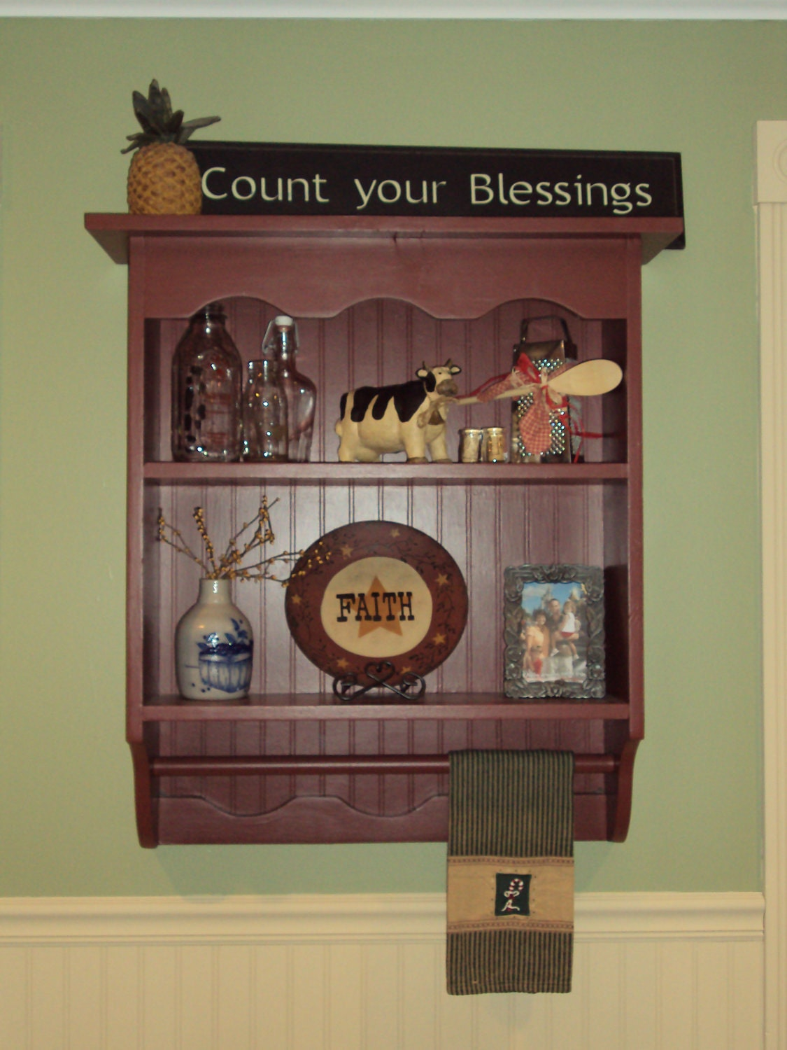 Country primitive wall shelf cabinet finished - Primitive paint colors for bathrooms ...