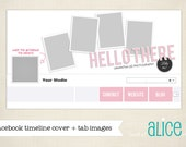 INSTANT DWNLD Facebook Timeline Cover plus 3 App Images - Hello There -