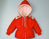 Vintage Jacket Hooded in Red with Scandinavian Trim Fleece Lined Size 2T