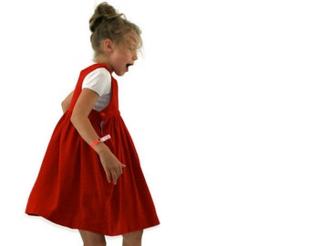 Vintage Jumper Dress in Red Velvet