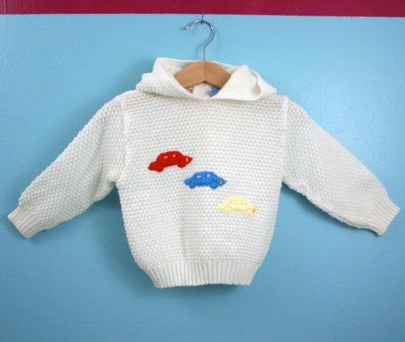 Vintage Knit Hoodie Sweater by Baby Crest Car Theme Size 24 months