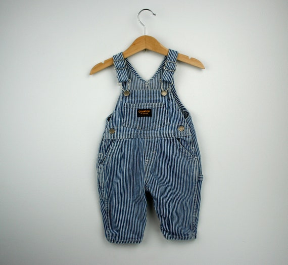 Vintage Oshkosh Blue and White Striped Overalls 9 to 12 months