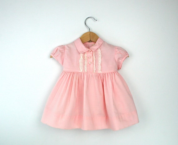 Vintage Baby Dress in Pastel Pink With Lace Size 6 to 9 Months 1960s