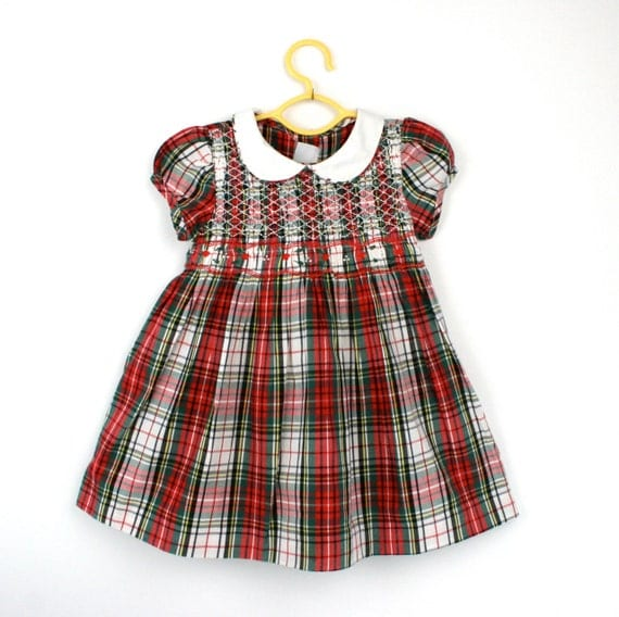 Vintage Baby Dress in Plaid with Smocking 12 Months 1980s