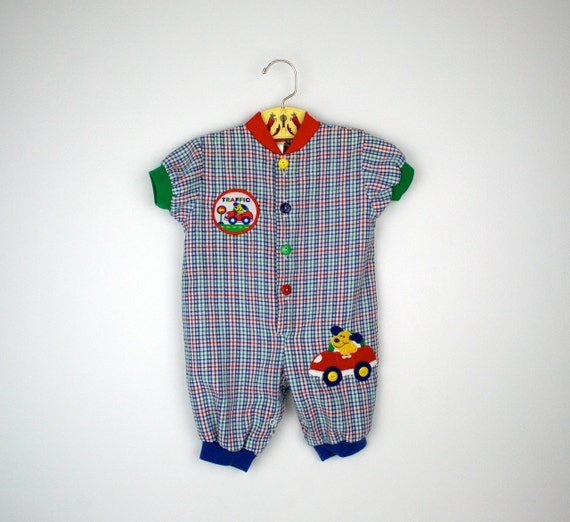 Vintage Baby Romper in Plaid Seersucker Size 3 to 6 Months