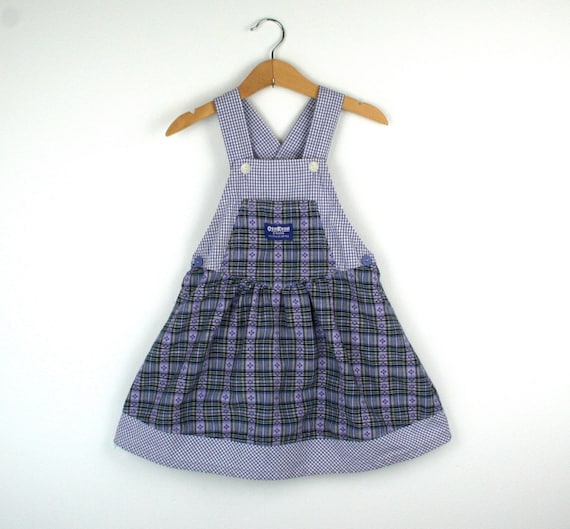 Vintage Oshkosh Overalls Dress Skirtall in Purple Plaid Size 4T