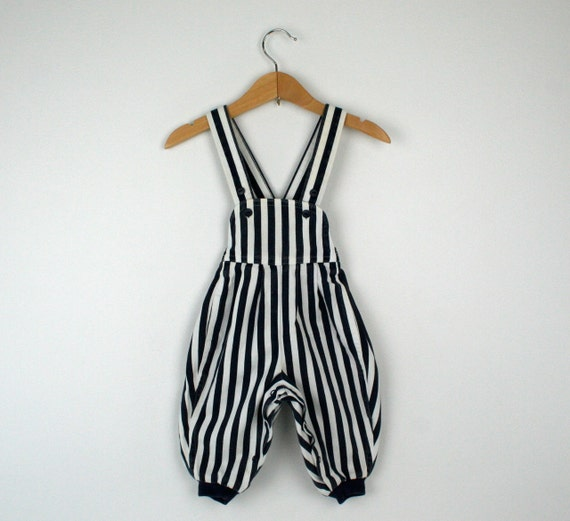RESERVE FOR EMILY Vintage Overalls with Bold Dark Blue and White Stripes 1980s Size 3 to 6 months
