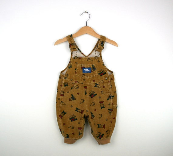 Vintage Baby Oshkosh Overalls in Brown Corduroy Animal Theme 3 to 6 months