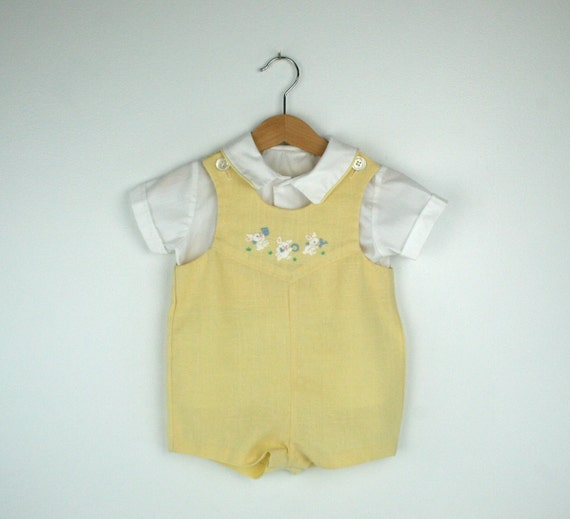 Vintage Baby Romper and Shirt in Yellow Size 9 to 12 Months