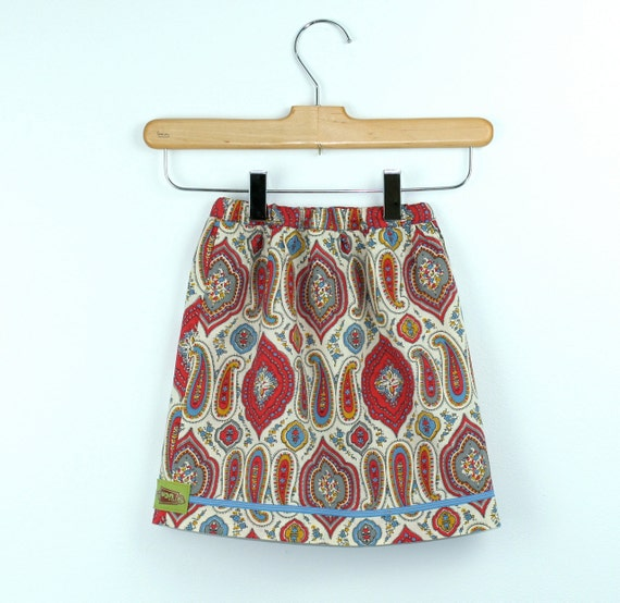 Vintage Maxi Skirt in Cotton Paisley 2T to 3T