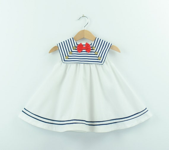 Vintage Sailor Dress Size 18T in Red White and Blue