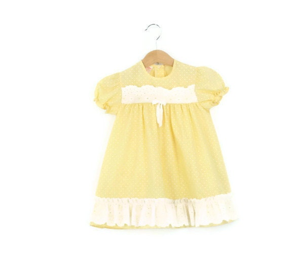 Vintage Toddler Dress in Pastel Yellow Polka Dots 4T
