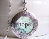 Photo Locket , Hope Necklace Locket, Inspration Jewelry, Word Locket