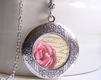 Locket, Art Locket Necklace, Vintage Style Rose, Photo Locket