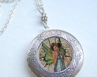 Locket, Fairy Locket, Photo Locket, Fairy Necklace, Fantasy Jewelry
