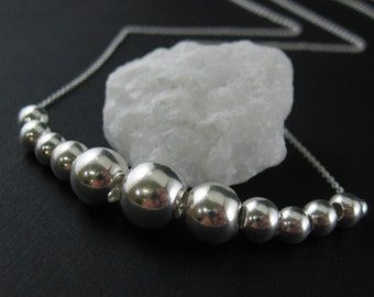 Sterling Silver Necklace - Row of Silver Balls Necklace - Everyday Necklace