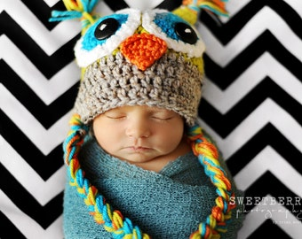 Crochet Owl Hat - Celadon green, gray, orange and teal - Photography Prop - 14 inch size  - 0-3 month size - Made to order two days